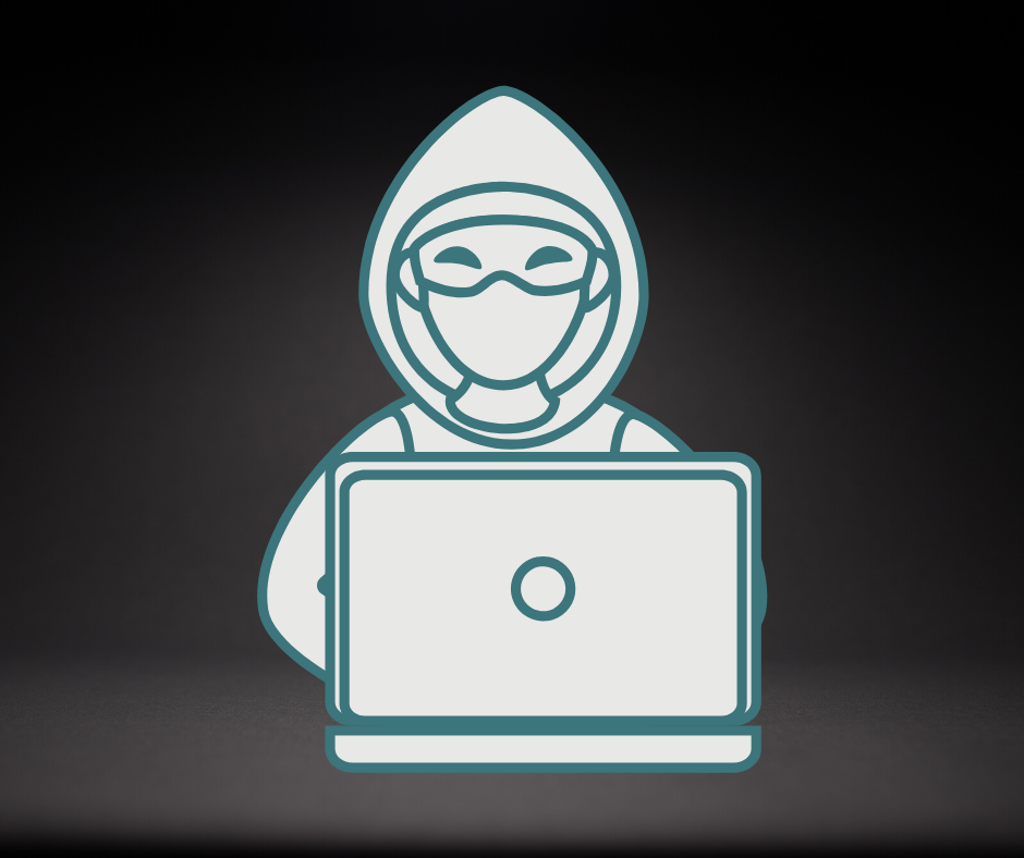 A graphic depicting a cyber-criminal