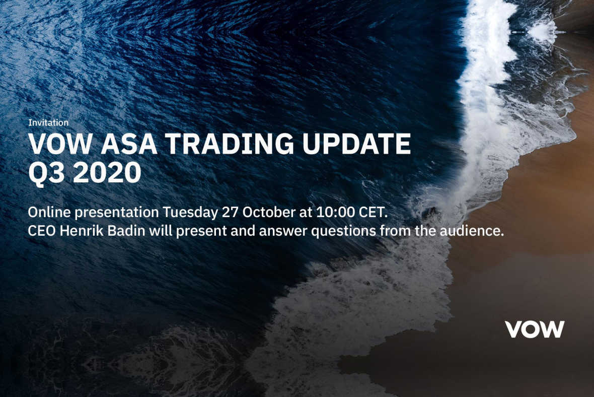 Vow ASA: Vow Q3 trading update - Invitation to online presentation with Q&A session at 27 October 2020