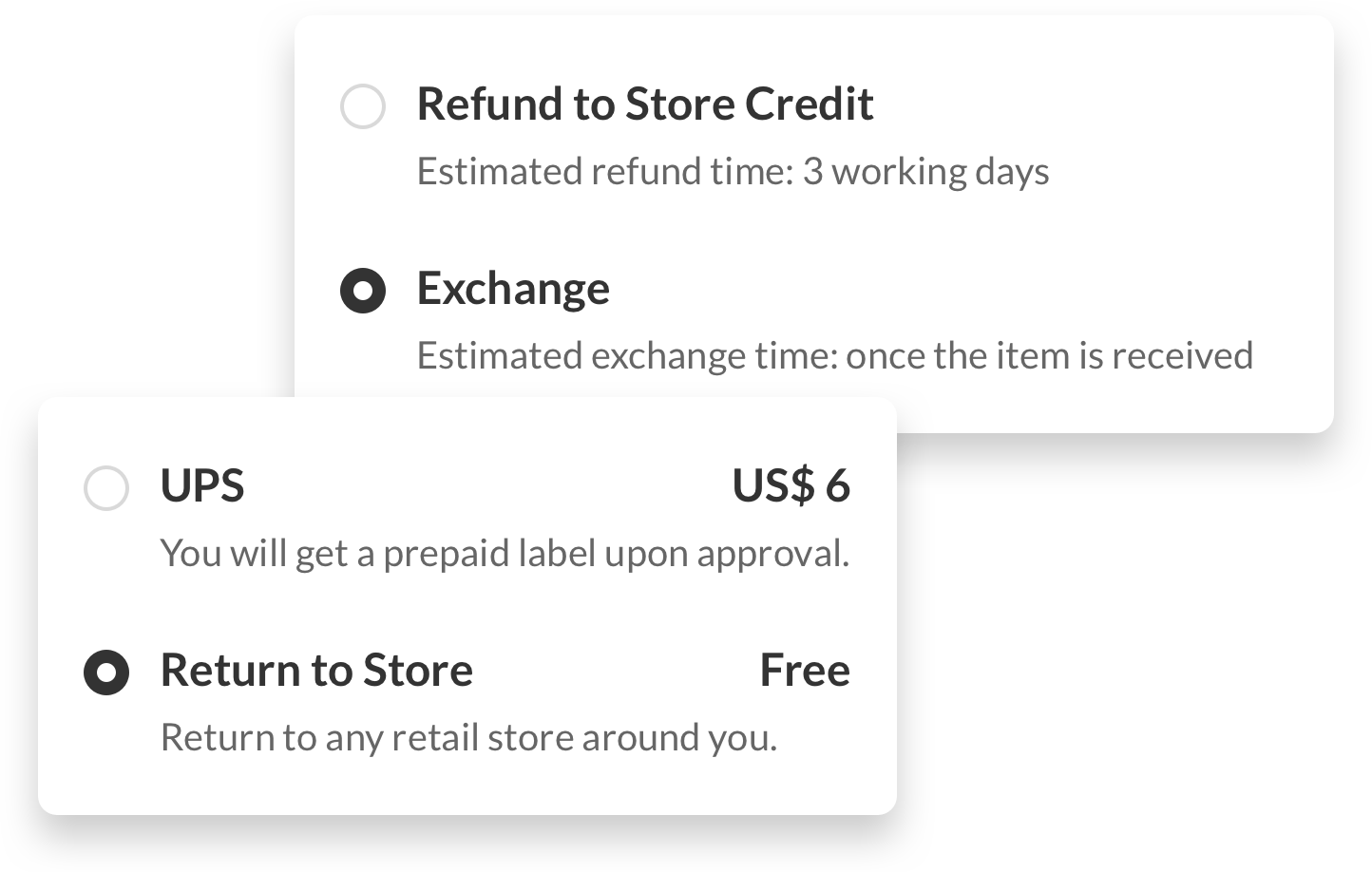 Customize refund and returns methods