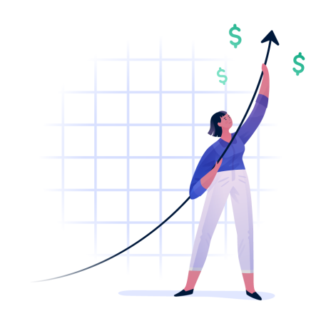 Woman positioning a line on a graph up toward money signs.