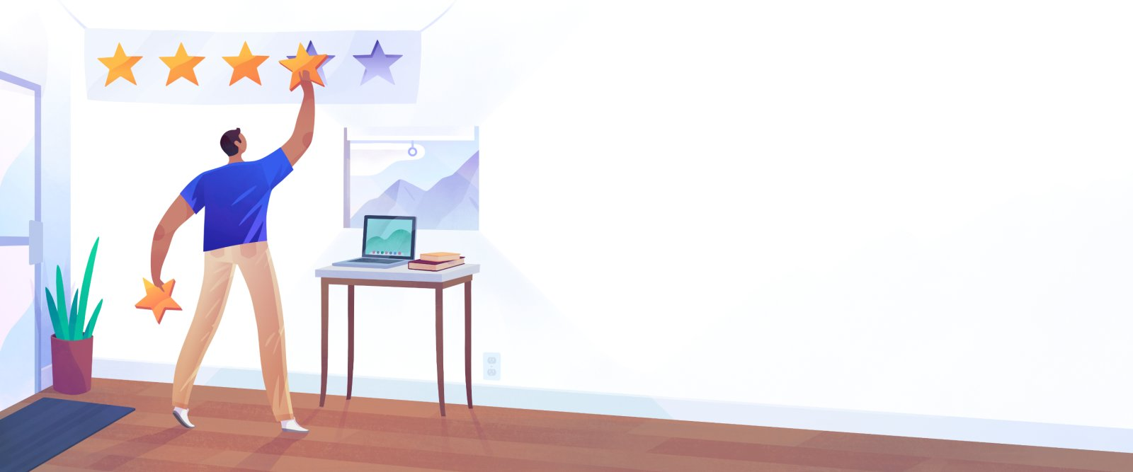 Man in workspace adding stars to wall.