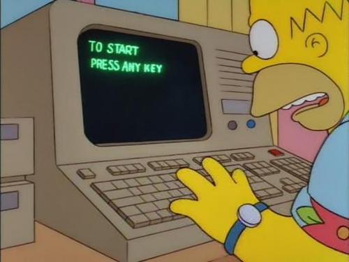 Homer Simpson on a personal computer