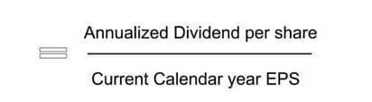 Annualized Dividend per share / Current Calendar year EPS