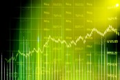 Green digital stock chart
