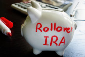 "Piggy bank with ""Rollover RIA"" written on the side"