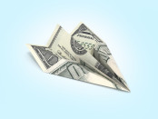 Paper Plane Made out of US Banknote