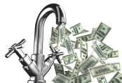 money flowing from a tap