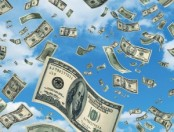Cash raining from sky