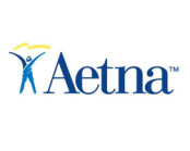 aetna logo in blue and white