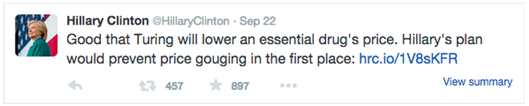 Clinton Tweet Sept 22
