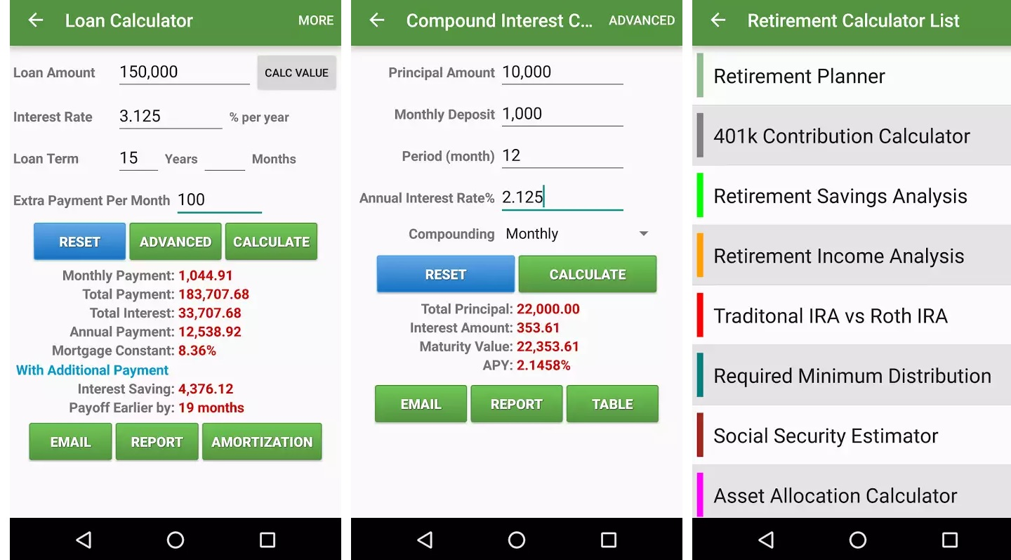 Financial Calculators screen 1