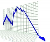 Arrow in steep decline on graph