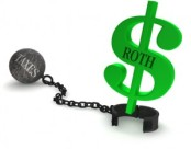 Taxes ball and chain releasing IRA dollar sign.