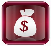 money sack on burgundy background
