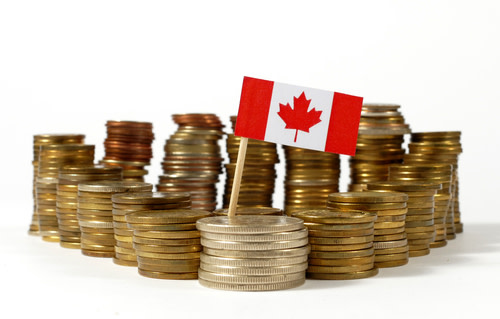 Pile Canadian Coins