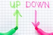 Arrows up and arrows down on graph paper