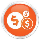 dollar icon orange button