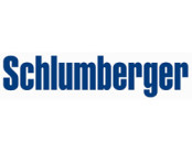 Schlumberger logo in blue and white