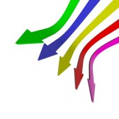 Multi-coloured down arrows