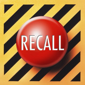 Red recall button on black and yellow lined background