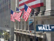 Wall Street with american flags