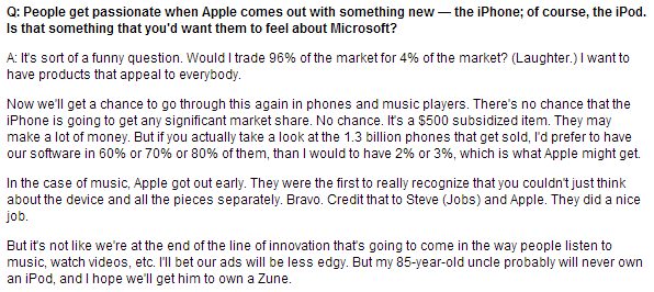 Steve Ballmer on iPhones