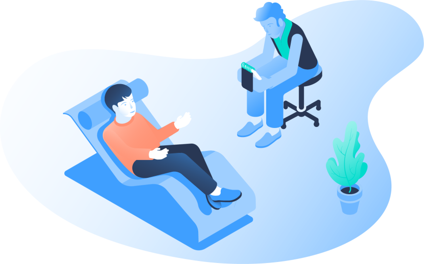 An illustration of a man sitting in a chair talking to a therapist.