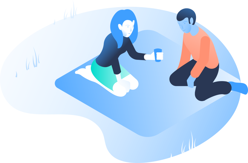 An illustration of two people having a picnic.