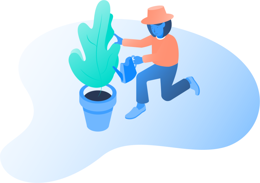 An illustration of a woman watering her plant.