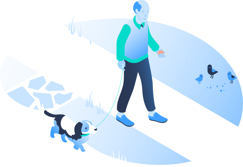 An illustration of a man walking his dog.