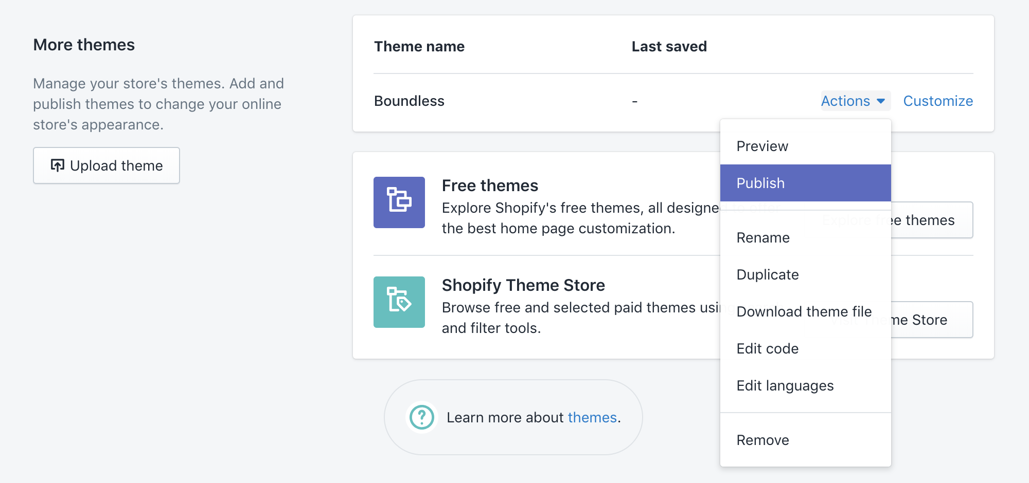 shopify-theme-publish