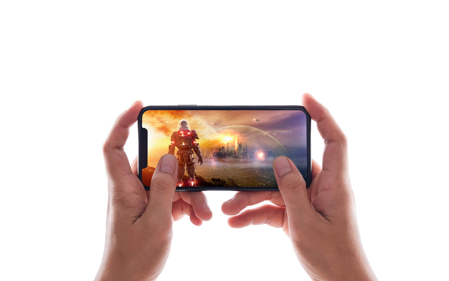 hands playing a mobile video game