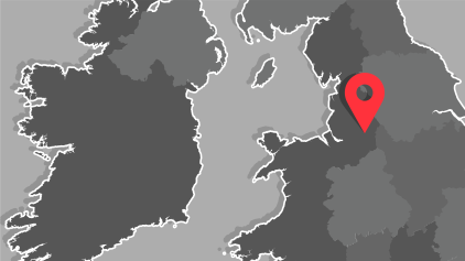 Map of the UK - pin drop on Manchester