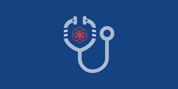 illustration of a stethoscope around the flower of life, the clue logo