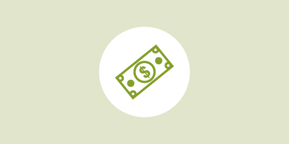 illustrated outlines of a green dollar bill on a white circle in the middle of a light green background