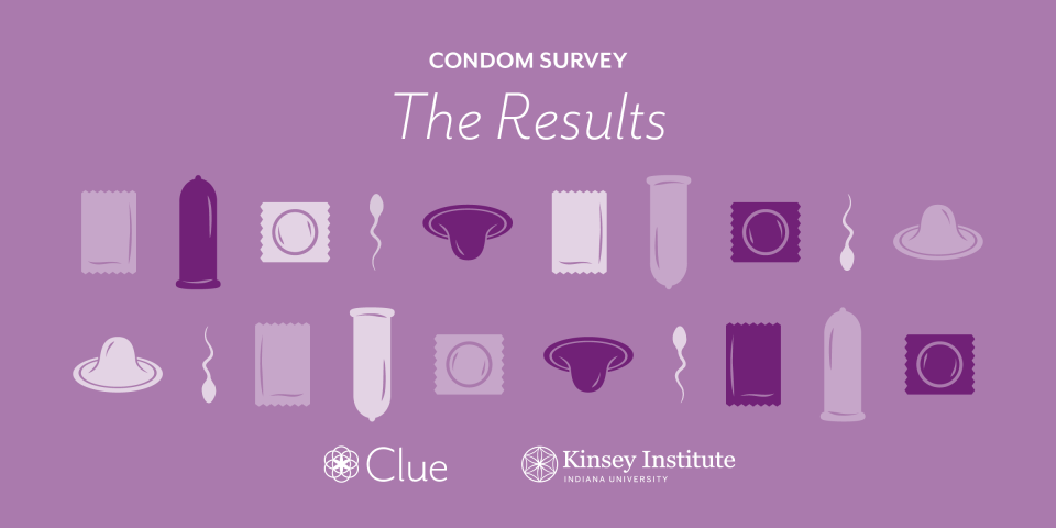 Condom survey results with illustrations of condoms and sperm