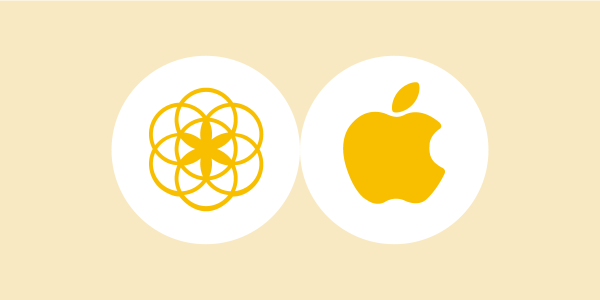 two white circles on a light yellow background displaying the apple and the clue logo