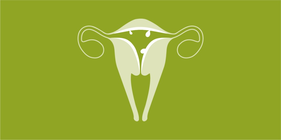 illustration of a uterus showing signs of irregular bleeding around menopause