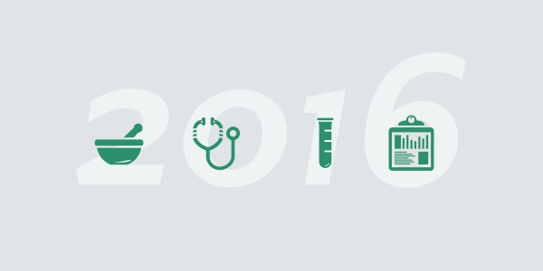 the numbers 2016 with green health icons on top