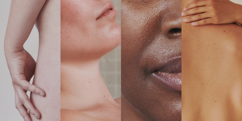 Four partial faces are shown, with different skin types.