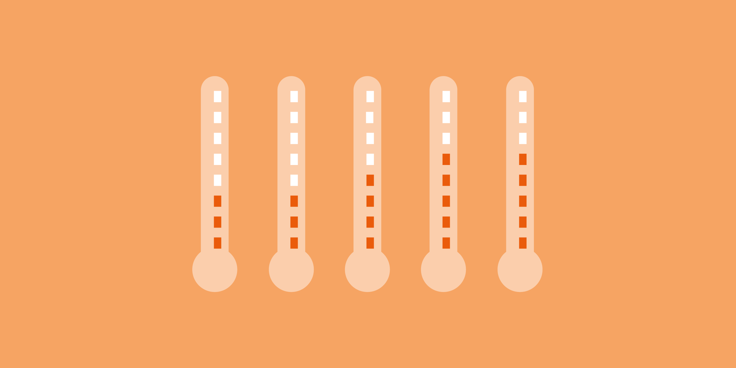 Thermometers with different temperatures, on orange background