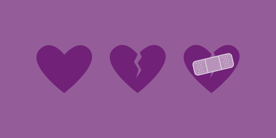 3 purple hearts in a row, one fully functional, one torn apart and another stitched with a patch