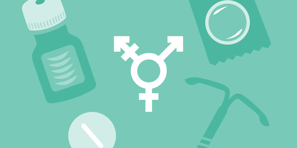 An illustration of the transgender symbol surrounded by different forms of birth control