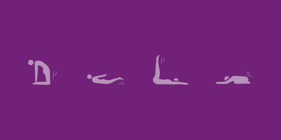 illustrated figures performing different yoga movements and postures