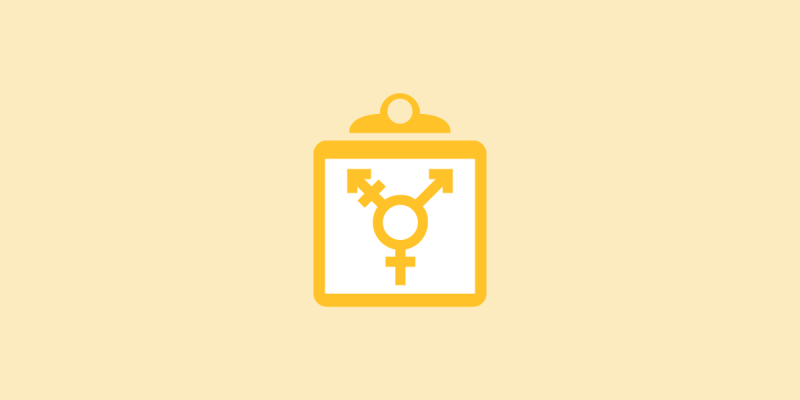 yellow gender icon on top of a clip board