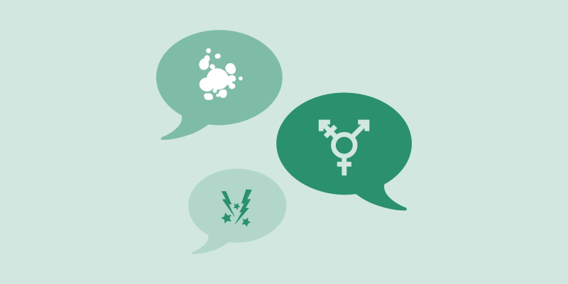 Three speech bubbles showing endometriosis tissue, the transgender symbol, and lightning bolts and stars to suggest pain