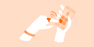 illustration of a left hand with a tech ring and wristband typing on a phone being held in the right hand