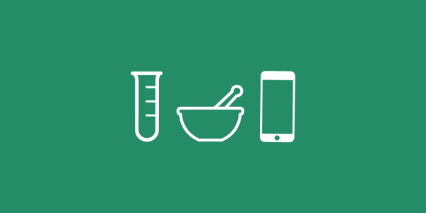 illustration of 3 white outlined items on a green background, a test tube, a mortar and a phone