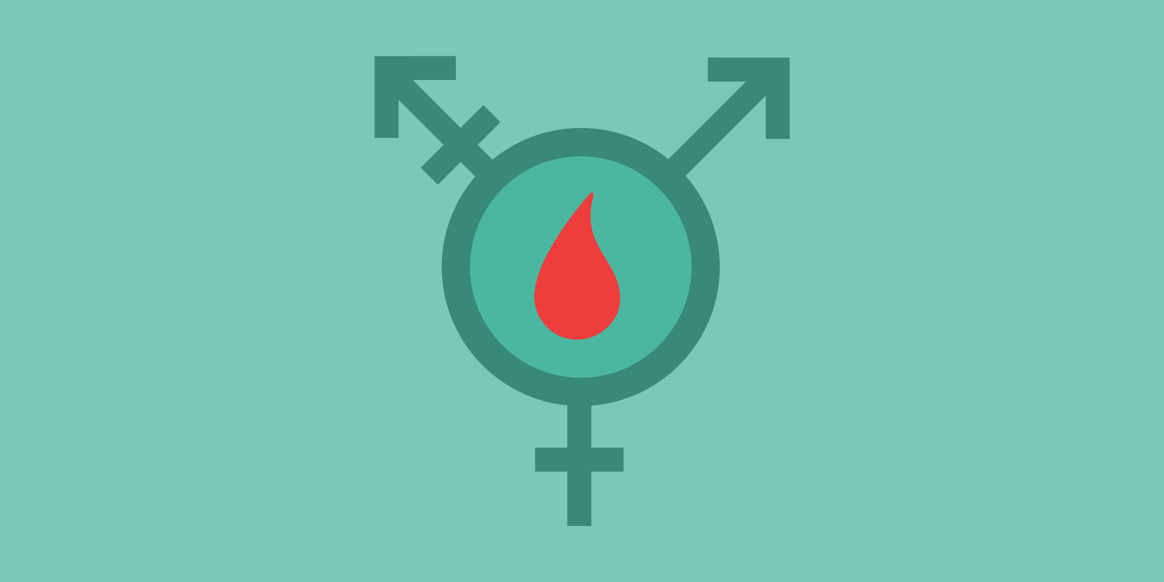 the transgender symbol in teal with a red drop of blood in the middle of the circle