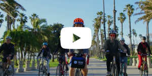 Video screenshot of a group riding bikes